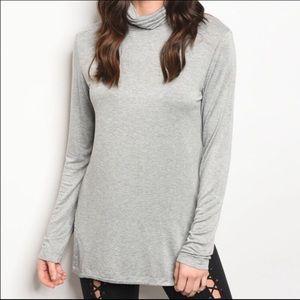 🌴 Gray Long Sleeve Turtleneck Tunic